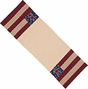 Home Collection by Raghu Stars and Stripes Nutmeg, Indigo & Barn Red Table Runner, 18