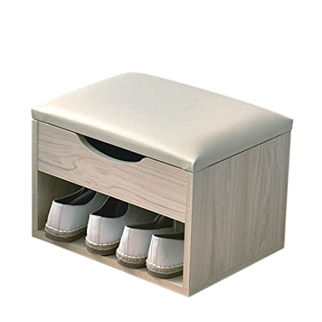 Raumeyun Upholstered Foot Stool Ottoman And Wooden Storage Drawer On Top, Wood Grain White