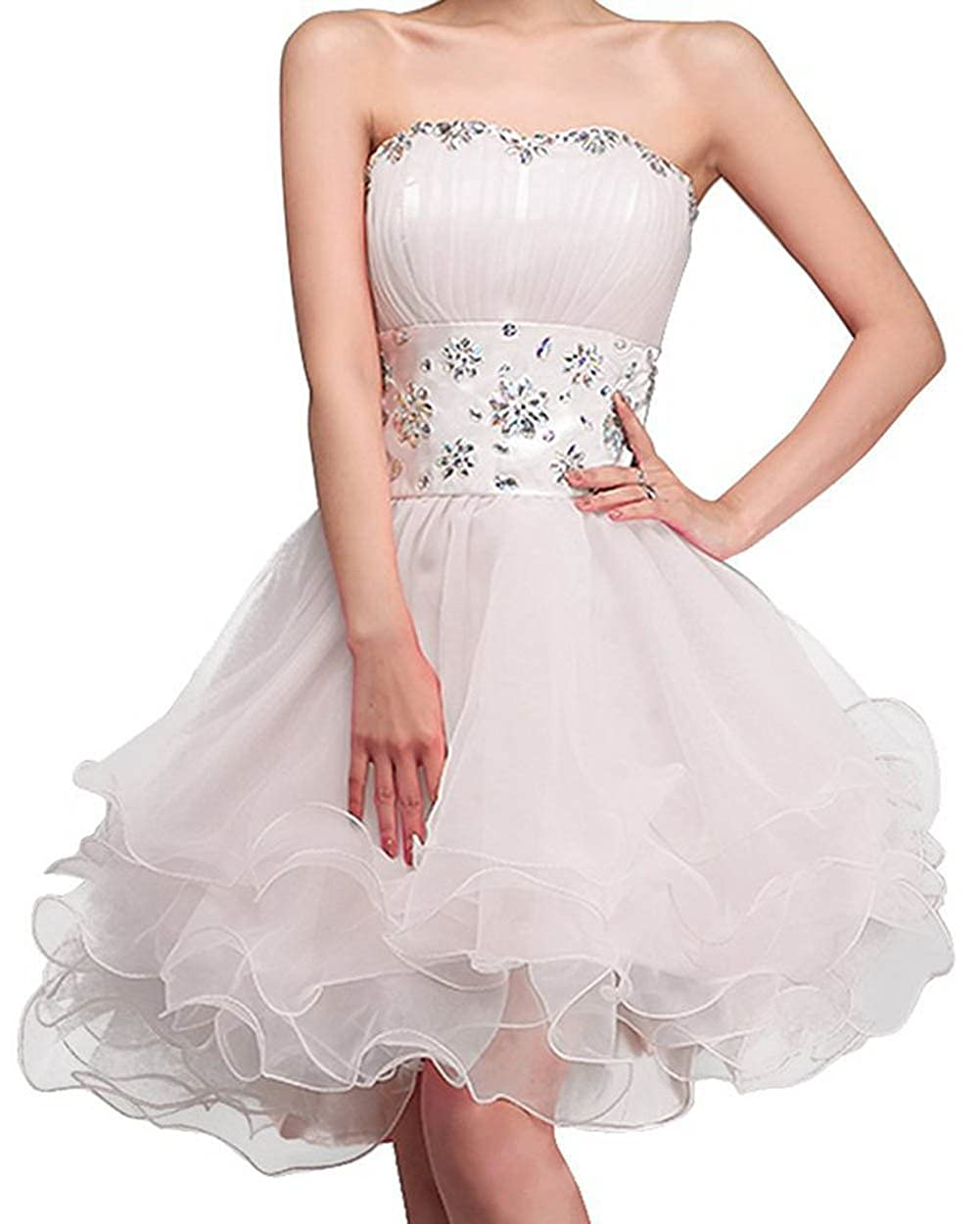 BessWedding Short Party Dresses 2016 Beaded Organza Homecoming Dresses for Women