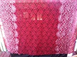 Fancy Red Rose Lace Fabric with Rasberry Flower Glitter Design ~2 Yds~58