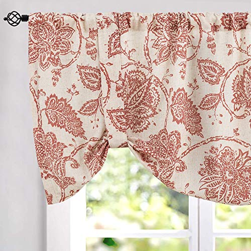 Tie-up Valances for Windows Linen Textured Adjustable Tie Up Shade Window Curtain Rod Pocket Rustic Jacobean Floral Printed Tie-up Valance Curtains 18 Inches Long (1 Panel, Red) (Jacobean Floral)