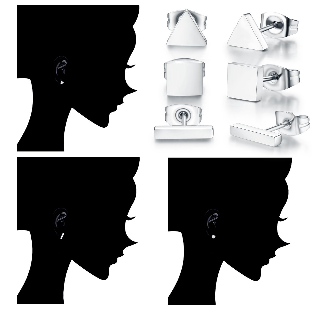 SPINEX 3 Pairs Silver Stud Earring Set Pierced (Rectangle, Square, Triangle) by SPINEX (Image #6)