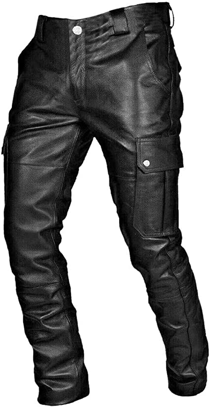 Men Black PU Leather Pants Punk Goth Trousers Elastic Waist Baggy Harem Pants