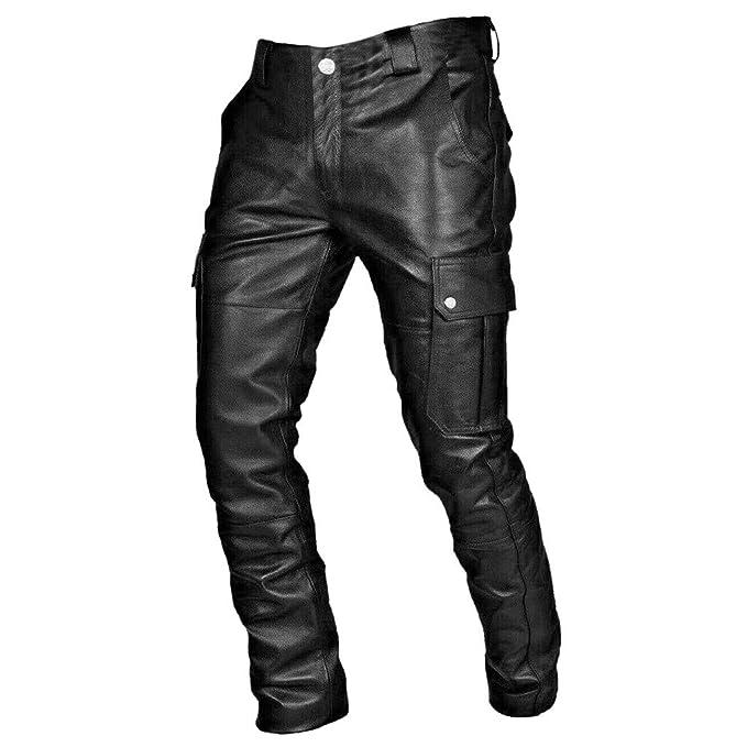 TwoCC Pantaloni Casual da Uomo Pantaloni Slim in Pelle Punk