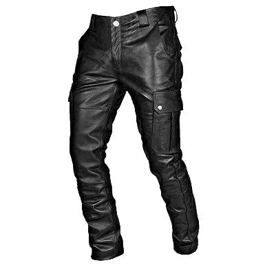 NUSGEAR Pantalones de Cuero Hombre Casual Gótico Retro Punk ...