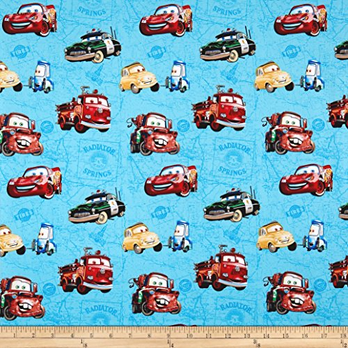 Disney Pixar Cars Fabric - Springs Creative Products Disney Car Toss On Map Blue Fabric by The Yard