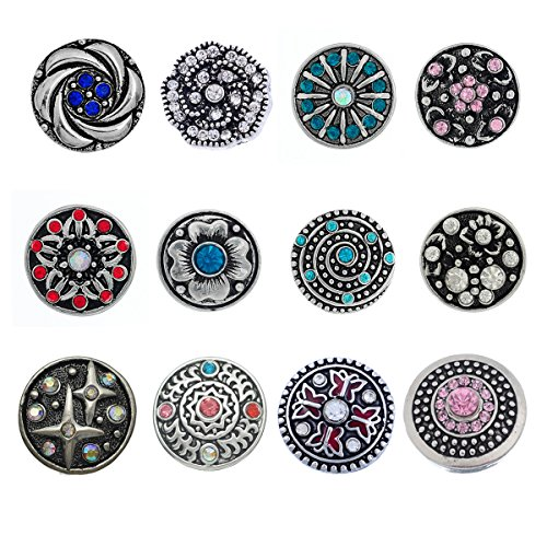 Souarts Pack of 12pcs Mixed Rhinestone Snap Button Jewelry Charms]()