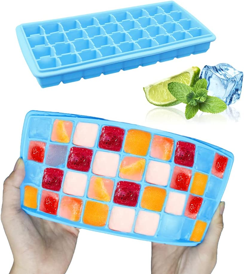 Silicone Ice Cube Tray, Reusable food Grade Silicone 36-Ice Cube Trays with Spill-Resistant Removable Lid Trays BPA Free, for Cocktail, Freezer. (Blue)