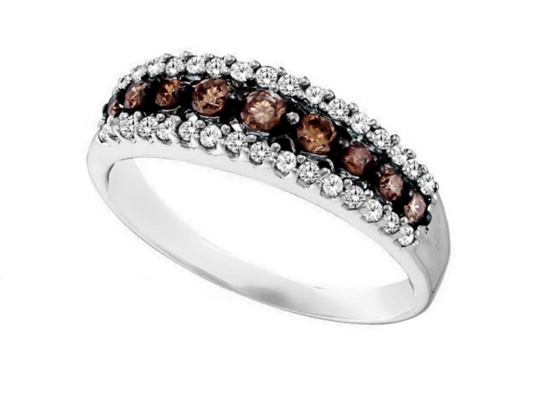 Brandy Diamond Chocolate Brown 10k White Gold Stunning Eternity Ring 1/2 Ctw.