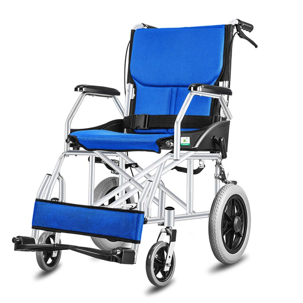 MLX Children's Wheelchair, Elderly Travel Trolley, Alloy Bracket Breathable Seat Cushion, Suitable for Disabled Elderly - Weighing 100kg (Color : Blue, Size : A) by MLXCY