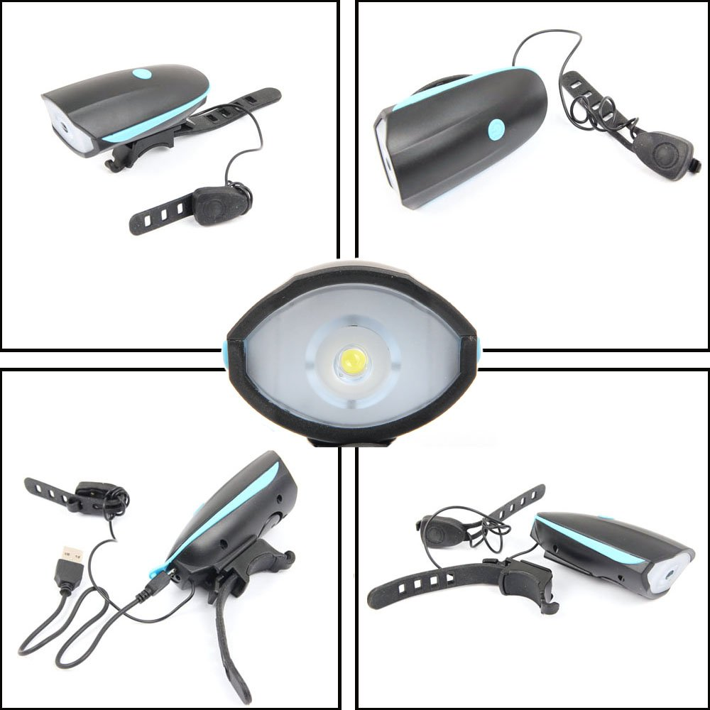 Helround Bicycle Light Set With Horn Super Bright USB Led Bike Front Light Rechargeable Headlight and Taillight Waterproof