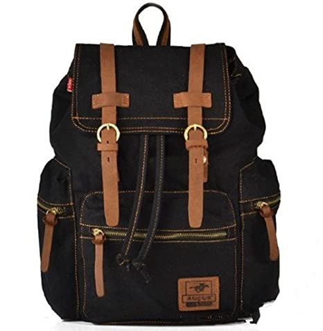 a0469a3317cc WindFeel Vintage Retro Canvas And PU leather Backpack School Bag School  College Laptop Bag iPad Rucksack