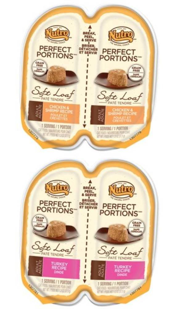Nutro Perfect Portions Grain Free Soft Loaf Cat Food 2 Flavor 8 Can Variety Bundle: (4) Nutro Chicken & Shrimp Recipe Perfect Portions Cat Food, and (4) Nutro Turkey Recipe Perfect Portions Cat Food, 2.6 Oz. Ea. (8 Cans T