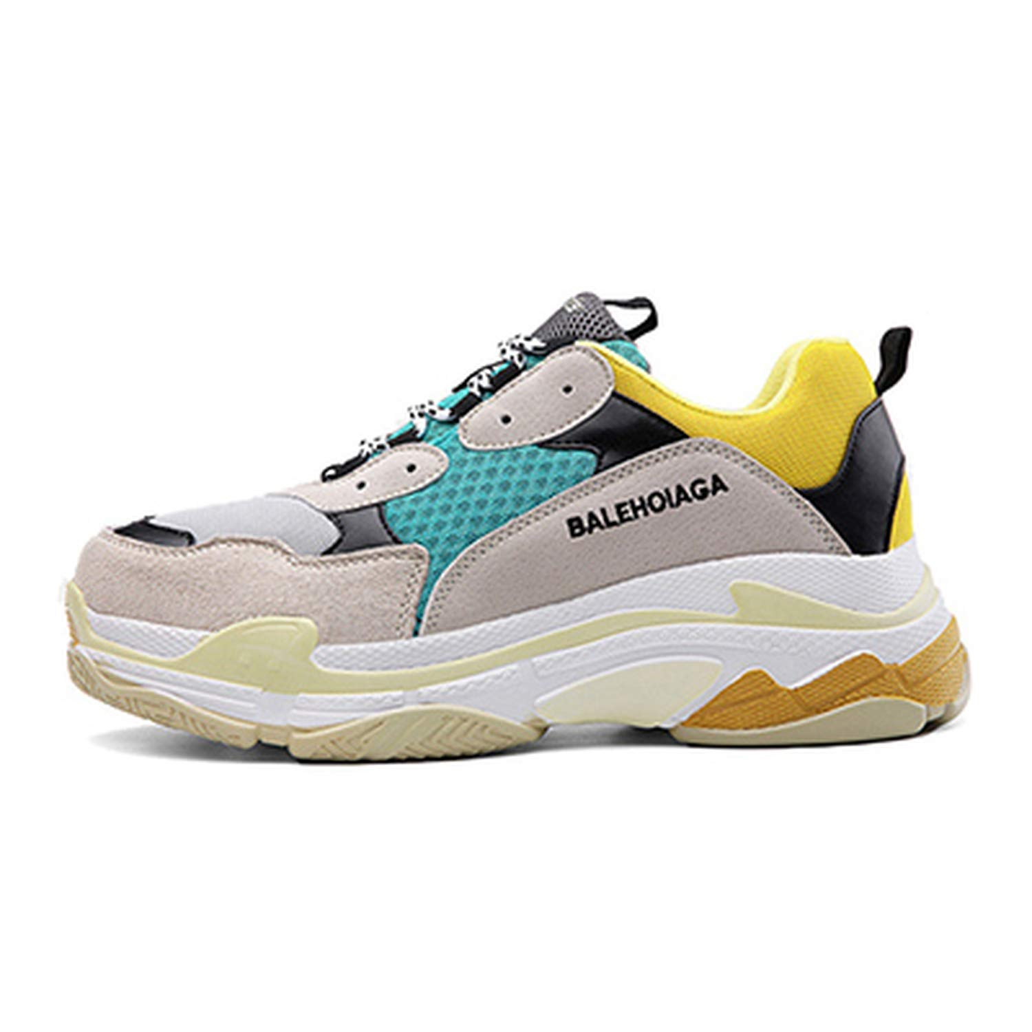 Amazon.com | Men dad Sneakers Casual Shoes Air Mesh Yellow Chunky Sneakers Outdoor Walking Shoes Zapatillas Hombre Breathable, Green, 9.5 | Fashion Sneakers