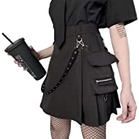 TOPVEST Punk Waist Chain Pleated A-Line Skirts Solid Black High Waist Pocket Cool Skirt