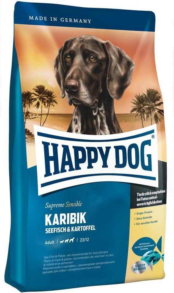 2 bolsas de 12,5 kg de alimento para perros Happy Dog Karibik con pescado