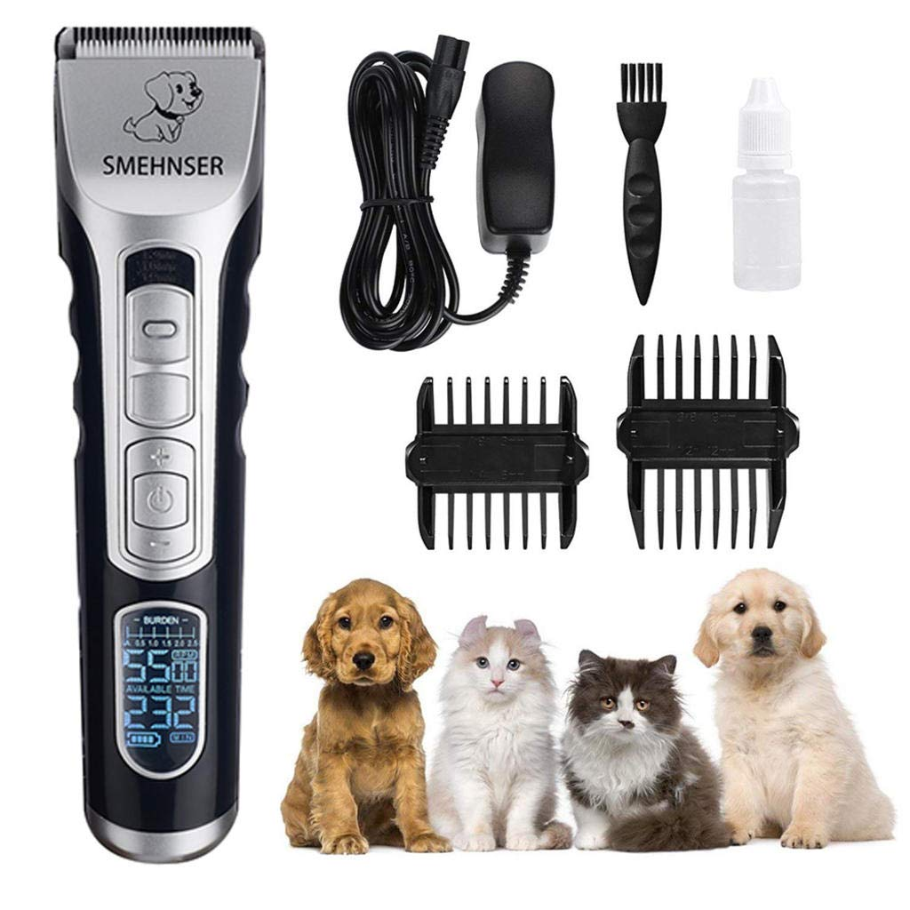 Dog Clippers Professional Pet Grooming Trimmers with LCD Display,Rechargeable Cordless Silent Hair Shaver for Long Thick Curly Fur Animal,Double Voltage