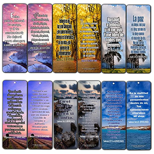 Spanish Christian Bible Verses Bookmarks - Release Stress and Anxiety (60-Pack) - Bible Verses to Release Stress and Anxiety - Inspirational Religious Scriptures Prayer Cards - Best Encouragement Gift (Bible Verses To Help With Worry And Stress)