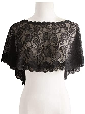 b08e4ea9c Women's Vintage Lace Tulle Cape Wedding Party Soft Bolero Scarf Shawls,Black