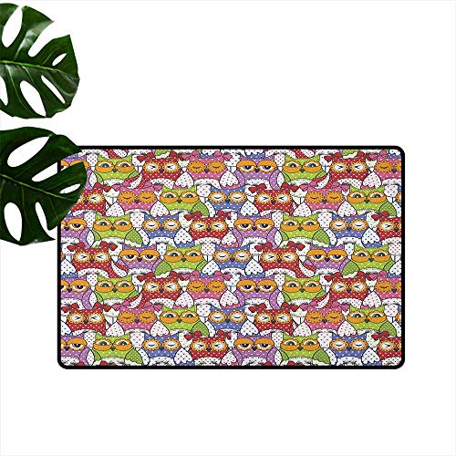 RenteriaDecor Owl,Washable Entrance Doormat Ornate Owl Crowd with Different Sights and Polka Dots Like Matryoshka Dolls Fun Retro Theme 36