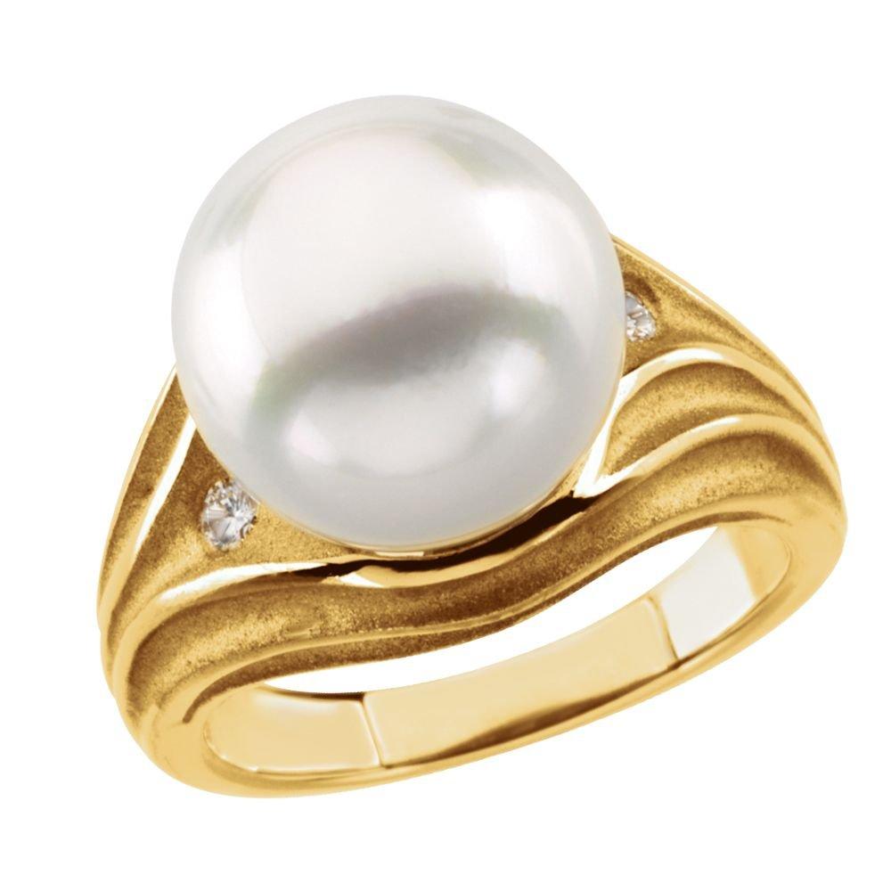 STU001- 18K Yellow .08 CTW Diamond & South Sea Cultured Pearl Ring