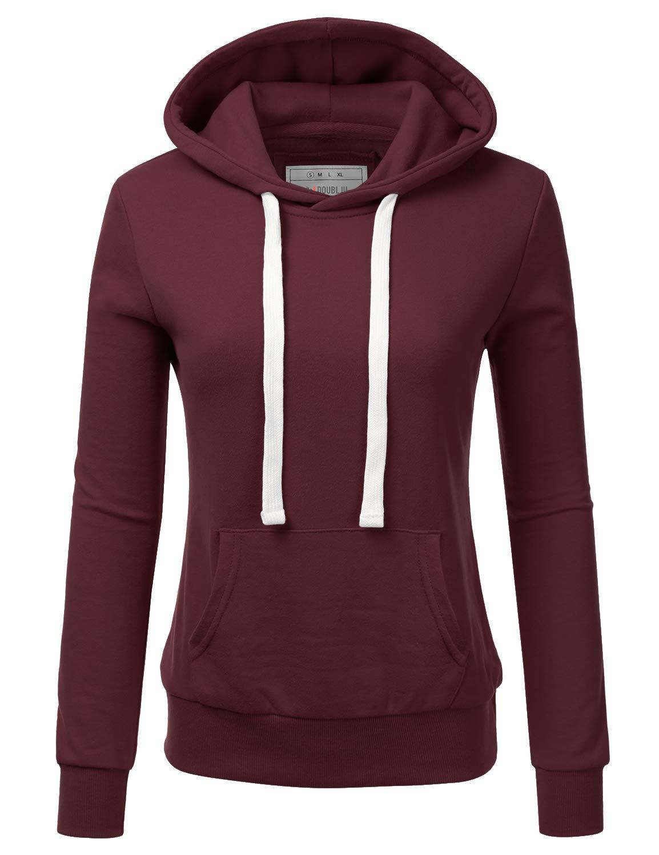 NINEXIS Womens Long Sleeve Fleece Pullover Hoodie Sweatshirts Maroon M by NINEXIS