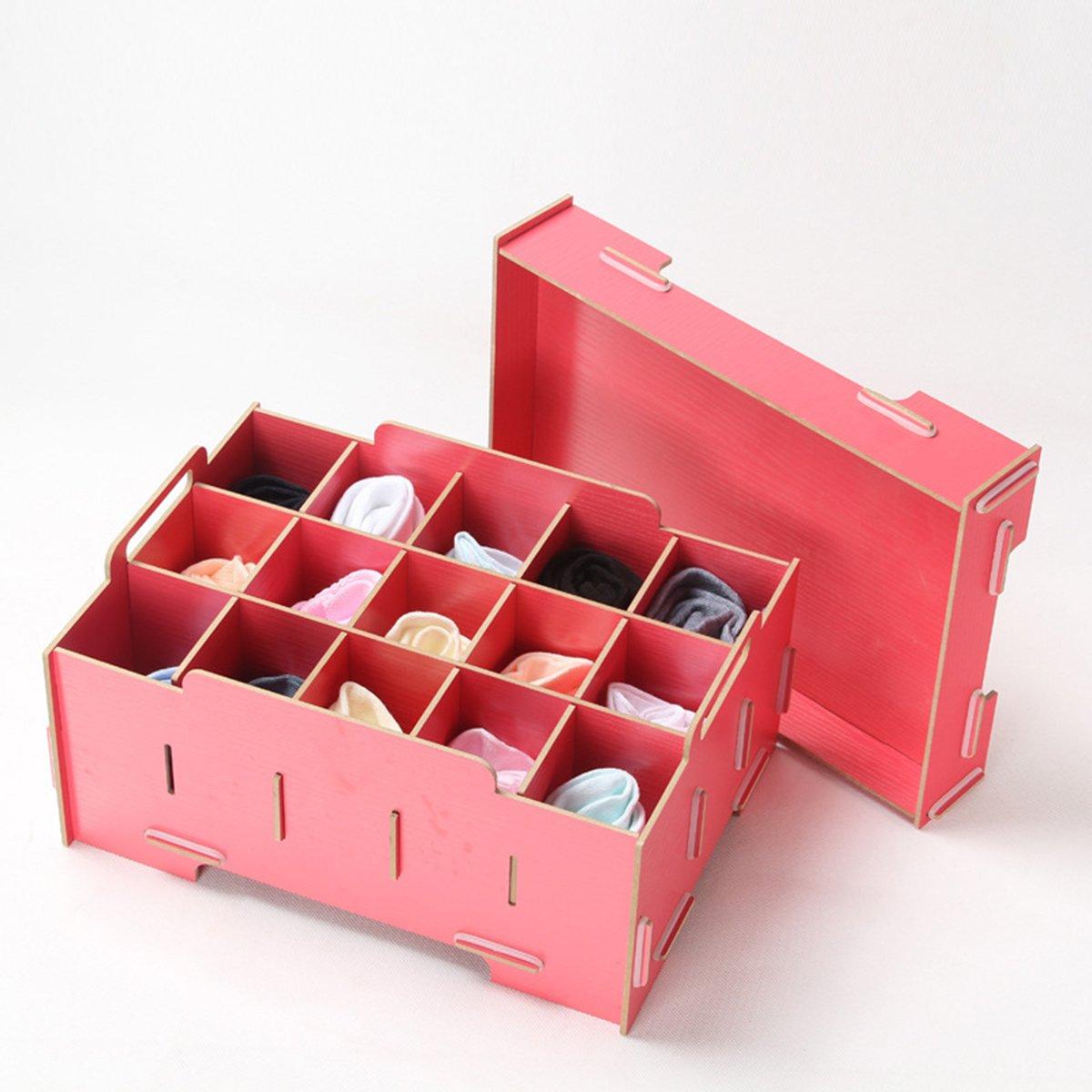 Organizer Multifunctiona Storage Box, Underwear Socks Panties Bra Wood Box Red