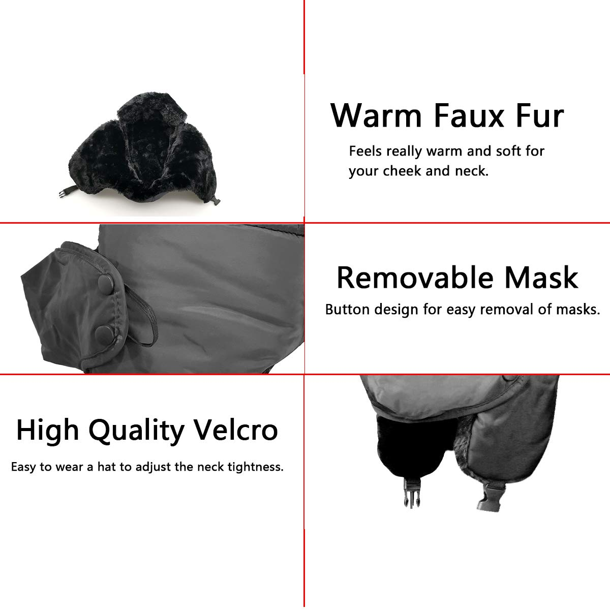 Winter Unisex Trapper hat for Mens and Womens,Hunting Trooper Hats Skiing Windproof Mask with Ear Flaps Keep Warm