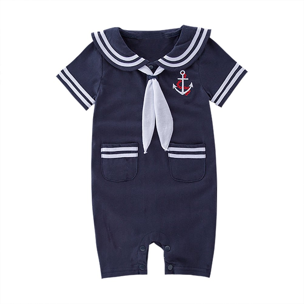 COSLAND Baby Boys 2 Pieces Short Sleeve Sailor Romper Outfit