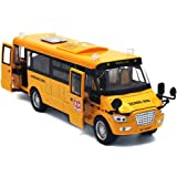"""Mallya 9"""" Yellow Pull Back School Bus Alloy Diecast Toy Vehicles with Lights Sounds and Openable Doors"""