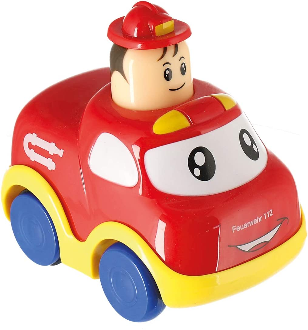 Toy Vehicle-Behind Crawling for Children from 9M Bieco Push and Los Tow Yellow 195601 Press /& Go car for Babies self-propelled