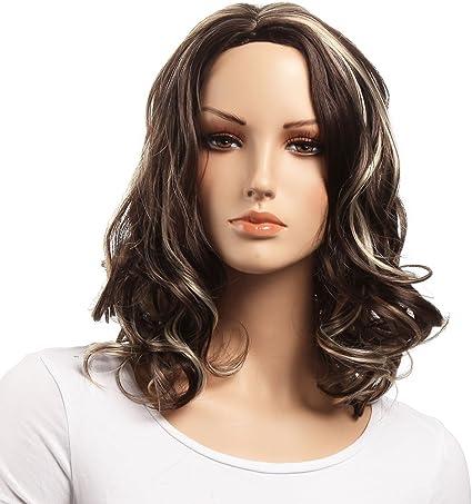 Pelucas onduladas de longitud media para el hombro, ambas para ...