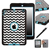 iPad Mini Case, E LV iPad Mini Case Cover - Shock-Absorption / High Impact Resistant Hybrid Dual Layer Armor Defender Full Body Protective Case Cover with 1 Screen Protector, 1 Stylus and 1 E LV Microfiber Digital Cleaner [Compatible with iPad Mini with Retina Display (7.9 inch Tablet) & iPad Mini (7.9 inch Tablet)] (Zig Zag ARMOR Blue)
