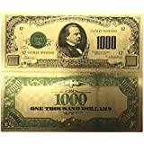 blinkee Collectible 1000 Dollar American Bill 24k Gold Plated Fake Banknote Currency for Decoration by