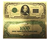us 1000 bill - blinkee Collectible 1000 Dollar American Bill 24k Gold Plated Fake Banknote Currency for Decoration by