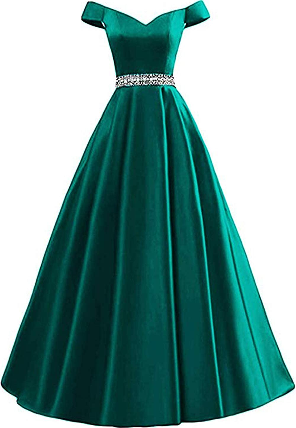 Hunter Rmaytiked Women's Off Shoulder Prom Dresses Long 2019 Satin Beaded A Line Formal Evening Ball Gowns with Pockets
