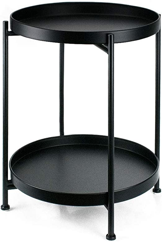 Amazon Com Side Table Small Tray Metal End Table 2 Tier Round