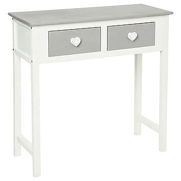 Tavolo consolle 2 cassetti con design in cuore - In legno colore ...