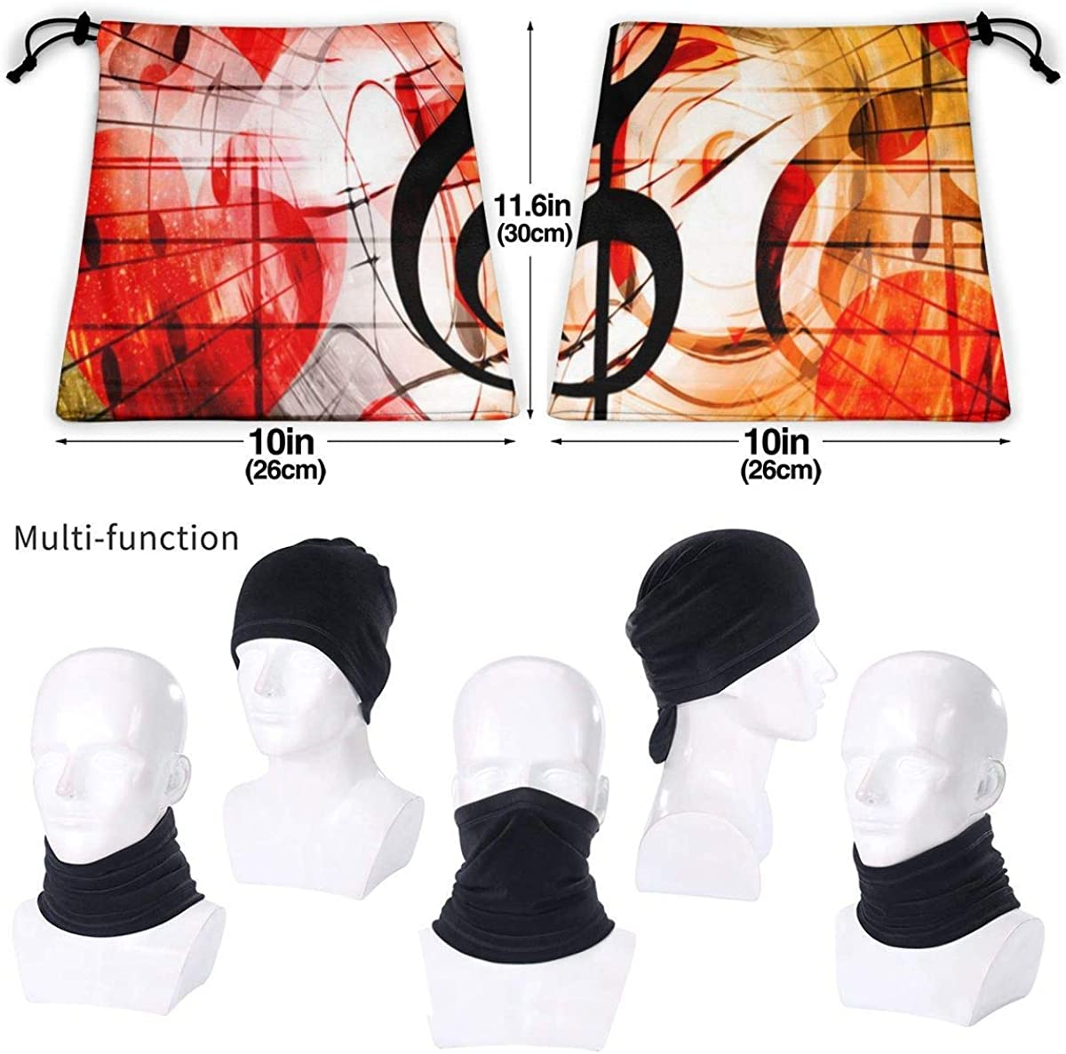 Microfiber Neck Warmer Hearts Music Notes Music Clefs Neck Gaiter Tube Ear Warmer Headband Scarf Face Mask Balaclava Black