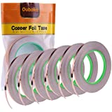 6 Pack Copper Foil Tape,Double-Sided Conductive Copper Tape with Adhesive for EMI Shielding,Stained Glass,Soldering,Electrica
