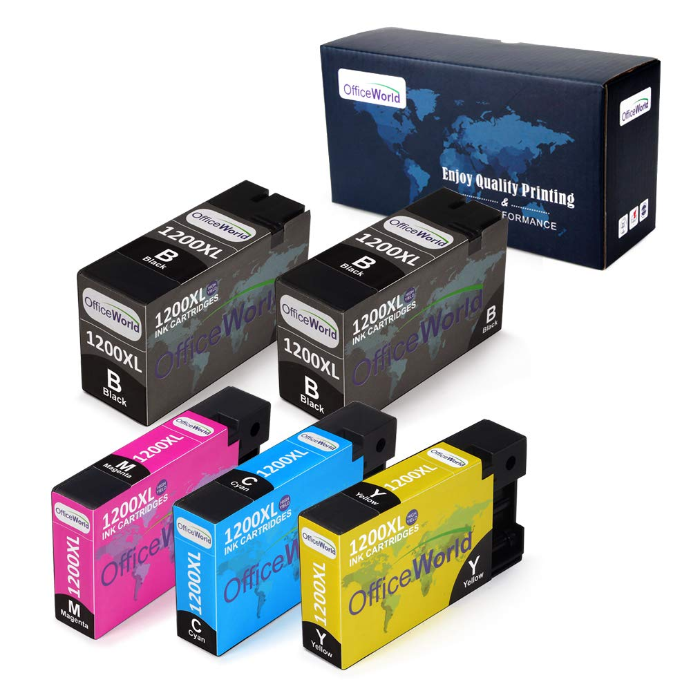 Office World Compatible Ink Cartridge Replacement for Canon PGI-1200XL PGI-1200 XL, Work with Canon Maxify MB2320 MB2720 MB2020 MB2120 MB2350 MB2050 (2 Black, 1 Cyan, 1 Magenta, 1 Yellow, 5 Pack)