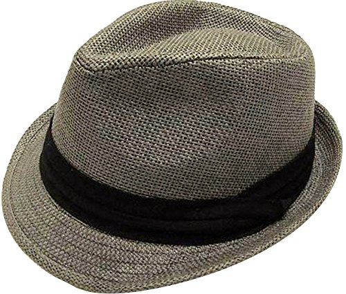 Livingston Unisex Summer Straw Structured Fedora Hat w/Cloth Band, Grey, ()