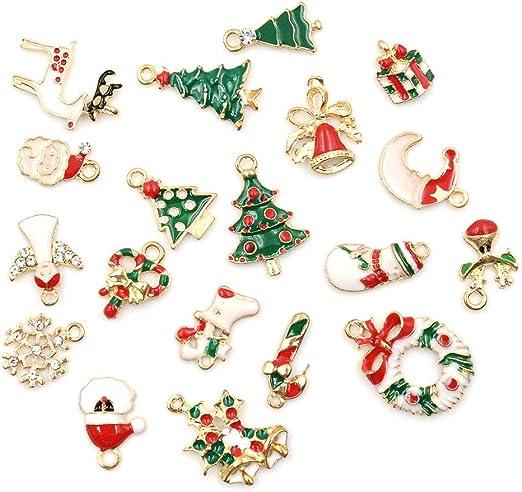 19Pcs//Set Enamel Alloy Christmas series small Charm Pendant DIY Ornament