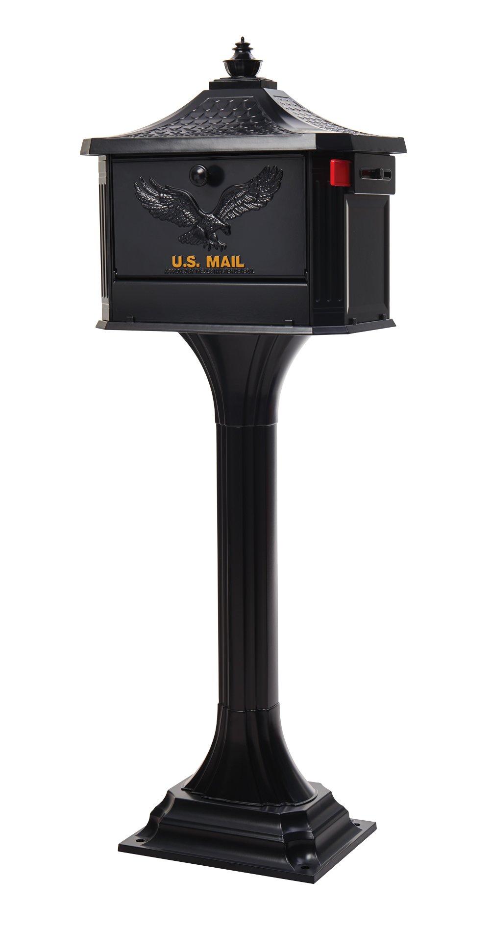 Gibraltar Mailboxes Pedestal Large Capacity Cast Aluminum Black, Mailbox & Post Combo, PED0000B