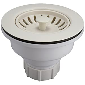Keeney K1442BSQ Deep Cup Plastic Sink Strainer with Fixed Post Basket, Bisque