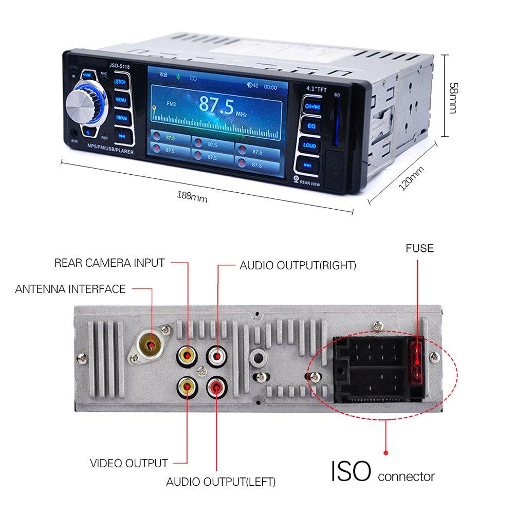 Auto Radio Video Stereoanlage FM Radio USB//TF//AUX Eingang mit Fernbedienung MP3 MP4 MP5 Player mit R/ückfahrkamera Eingang Bluetooth Autoradio 4.1  HD