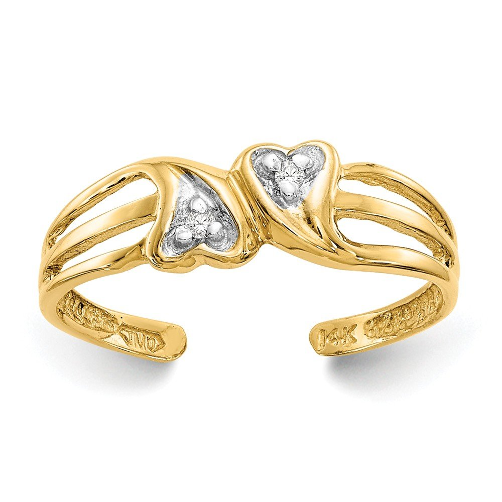 Solid 14k Yellow Gold Double Love Heart .02ct Diamond Adjustable One Size Fits All Toe Ring (1 to 5 mm)