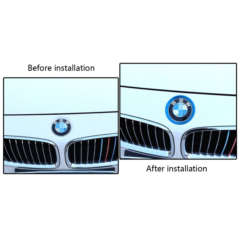 BMW Car Decorative Ring Front The Logo And Rear The Logo Sequins Decorated For BMW 3 Series 4 Series M3 M4 F30 F31 F32 F34 F32 F82 2 Pcs//Set Blue YIKA