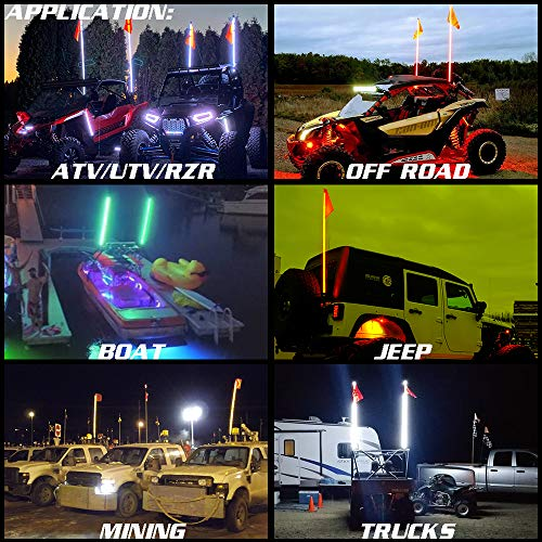Road Vehicle ATV UTV RZR Jeep Trucks Dunes 1.2M Beatto 4FT Orange LED Whip Light LED Safety Flag Whips Light LED Antenna Light For Off