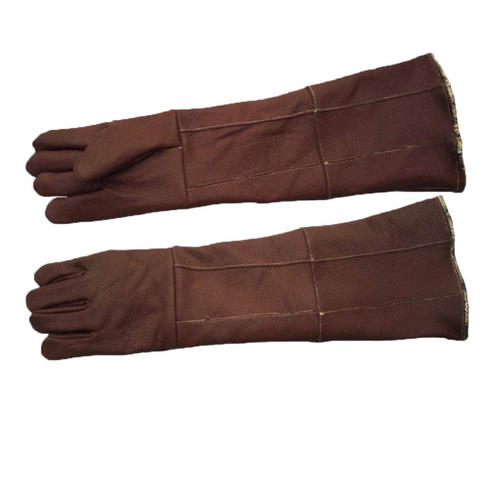 Anti-pet Catching Long and Thick Leather Work Protective Gloves,Brown